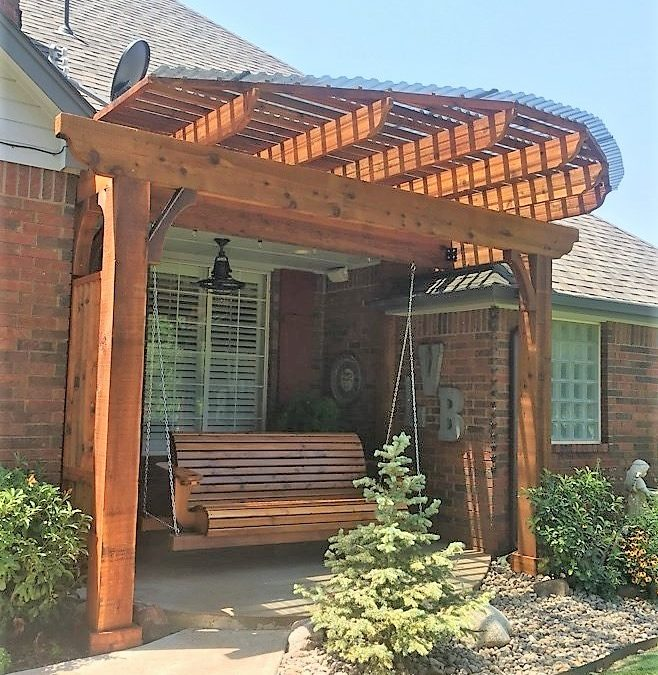 Custom Pergola, Swing and Privacy Wall